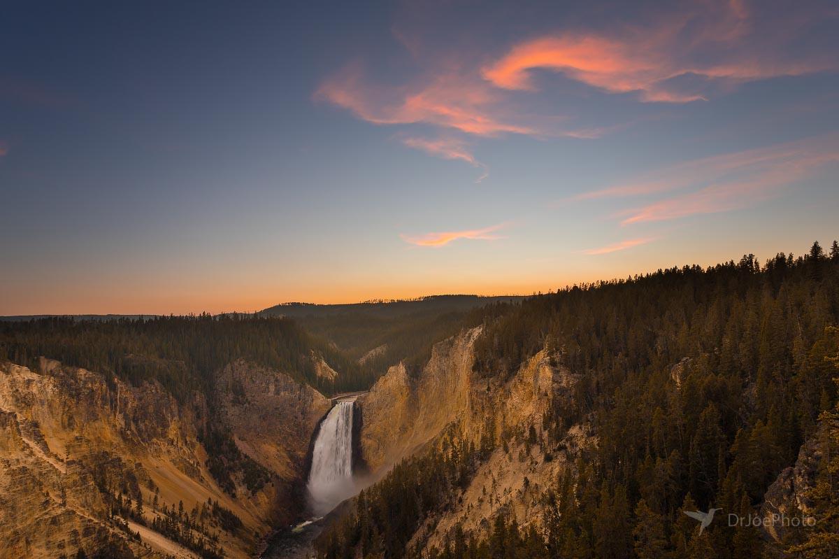 Yellowstone Lower Falls Sunset Wyoming