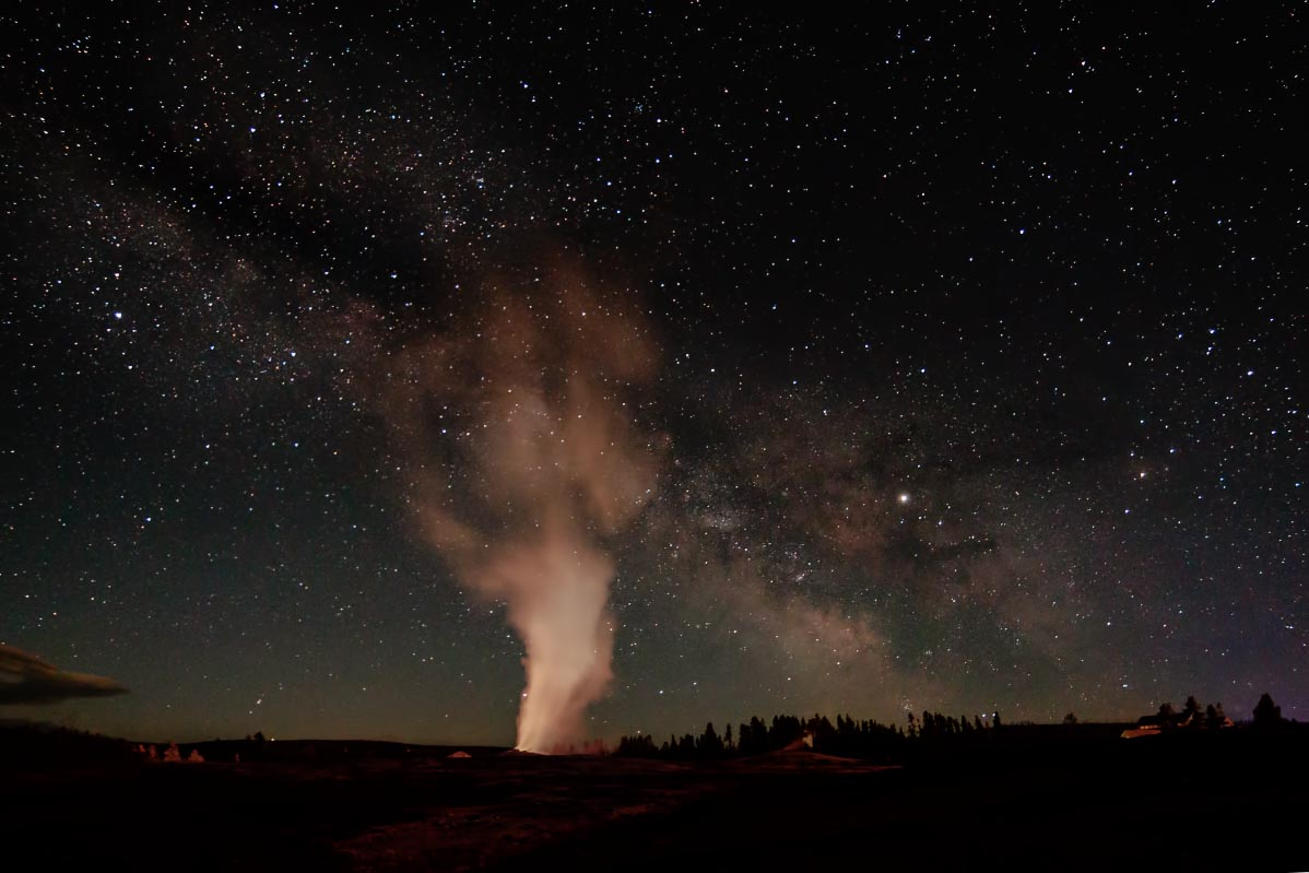 Old Faithful Milky Way Yellowstone Wyoming