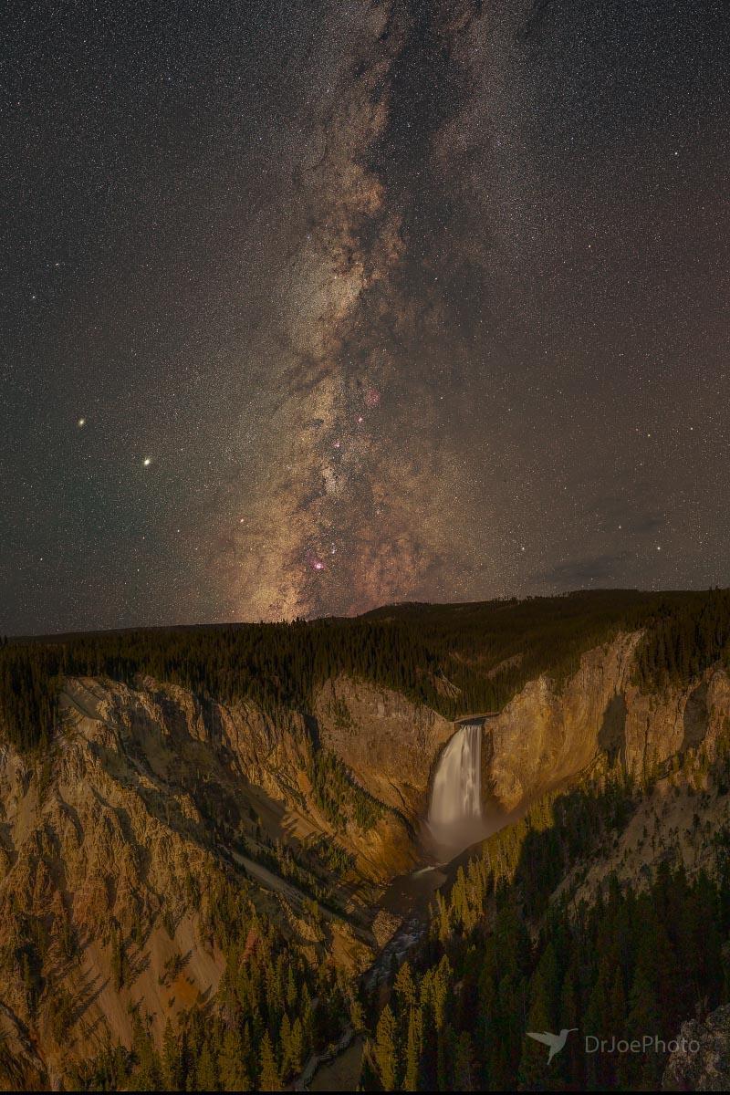 Yellowstone Lower Falls Milky Way Wyoming
