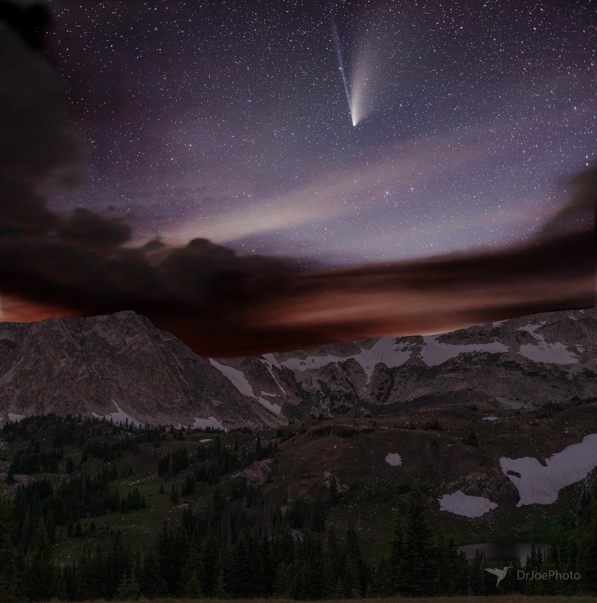 Comet Neowise over Snowy Range Wyoming